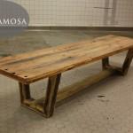Oud eiken tafel met balken onderstel. 320 centimeter lang en 90 cm breed