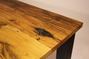 oud eiken tafel stalen onderstel