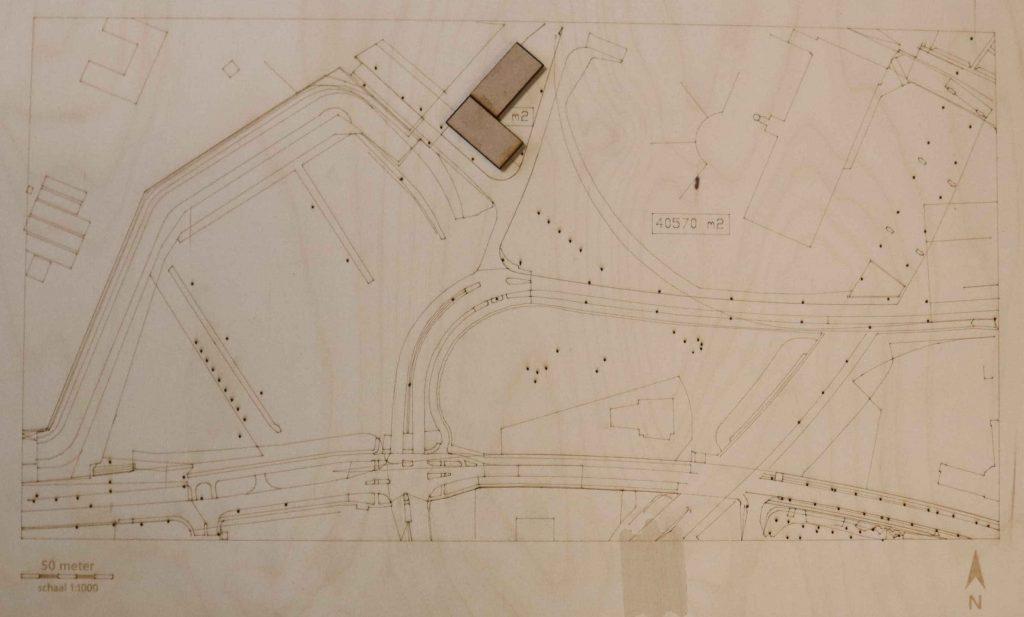 Voorgestelde locatie nieuwbouw bedrijfshal op de Nyma